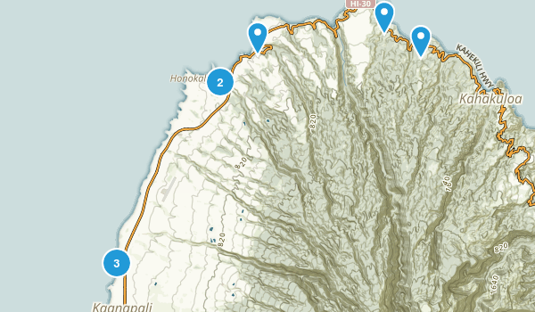 Lahaina, Hawaii Hiking Map