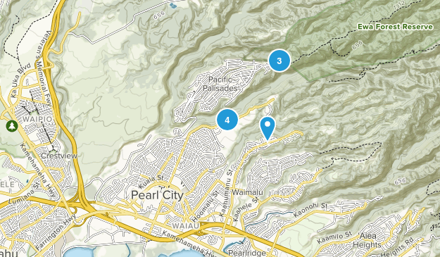 Pearl City, Hawaii Hiking Map