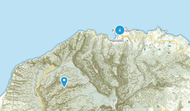 Princeville, Hawaii Hiking Map
