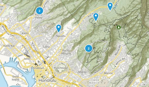 Urban Honolulu, Hawaii Walking Map