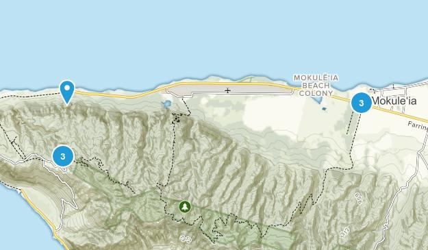 Waialua, Hawaii Hiking Map