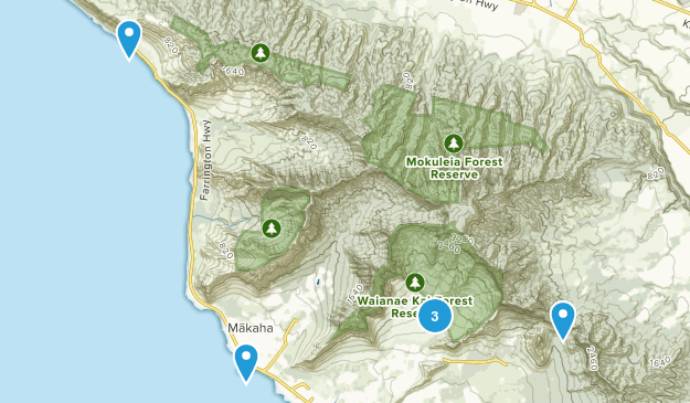 Waianae, Hawaii Wild Flowers Map