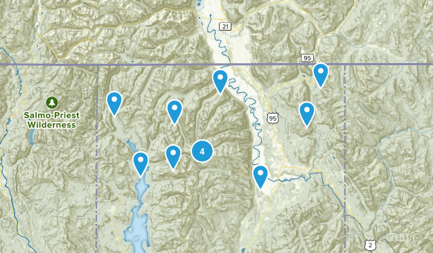 Bonners Ferry, Idaho Forest Map