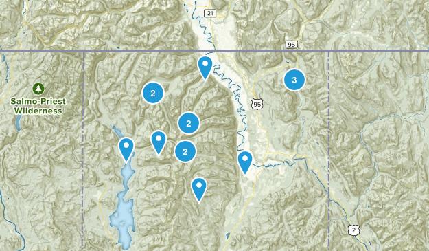Bonners Ferry, Idaho Hiking Map