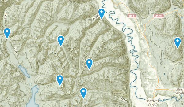 Bonners Ferry, Idaho Nature Trips Map