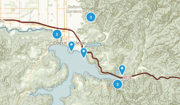 Coeur d'Alene, Idaho Dogs On Leash Map