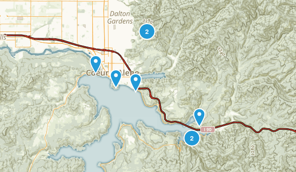 Coeur d'Alene, Idaho Nature Trips Map