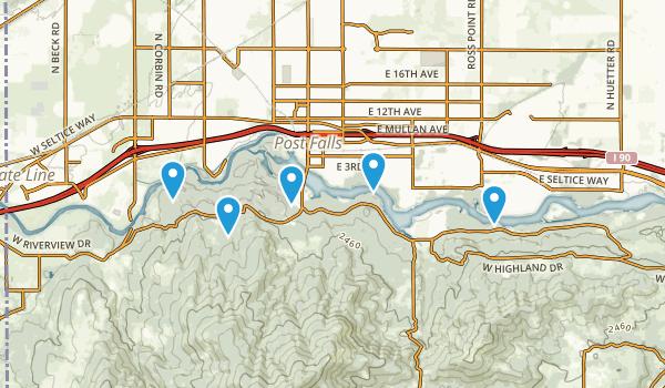 Post Falls, Idaho Dogs On Leash Map