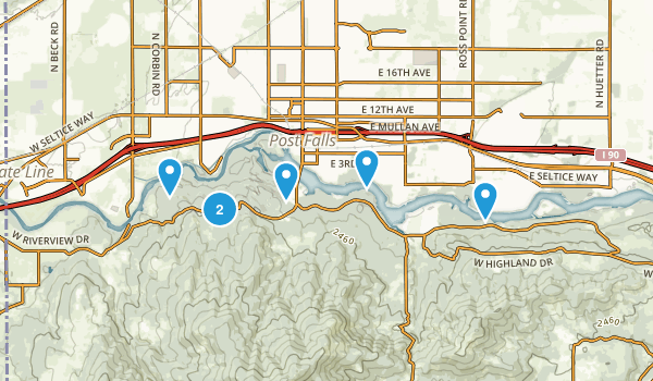 Post Falls, Idaho Forest Map