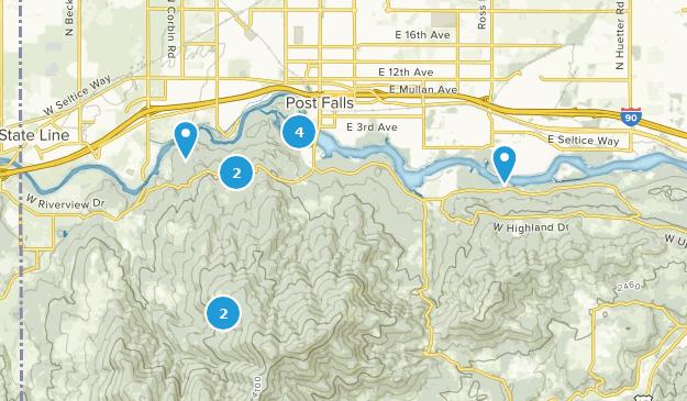 Post Falls, Idaho Hiking Map