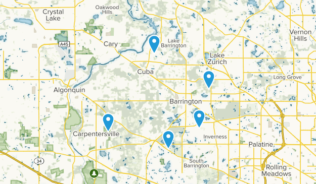 Barrington, Illinois Birding Map