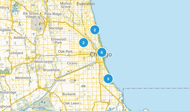 Chicago, Illinois Dogs On Leash Map