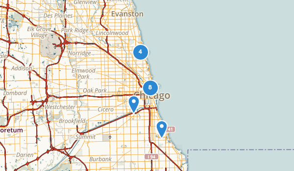 trail locations for Chicago, Illinois