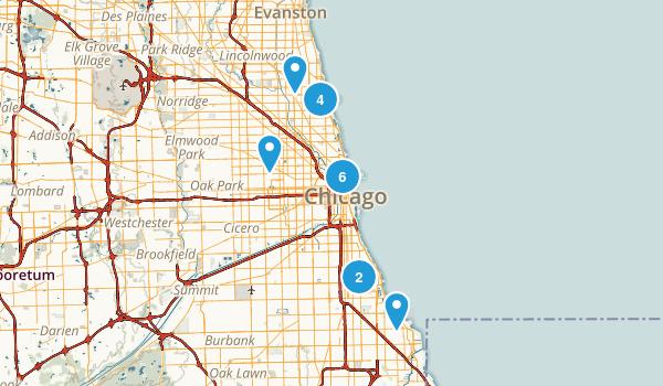 Chicago, Illinois Hiking Map