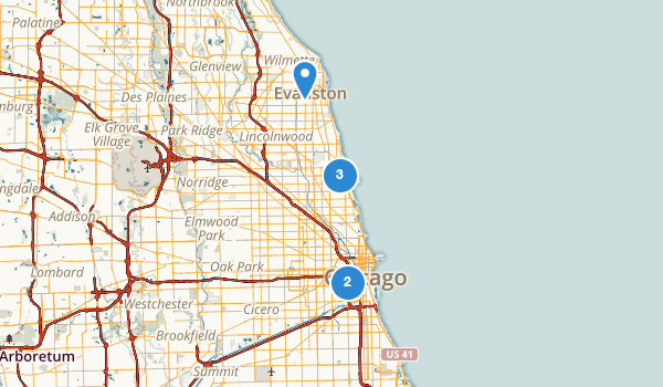 Chicago, Illinois Road Biking Map