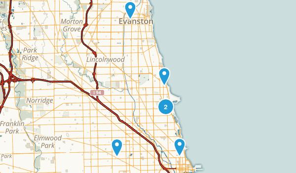 Chicago, Illinois Road Biking Map