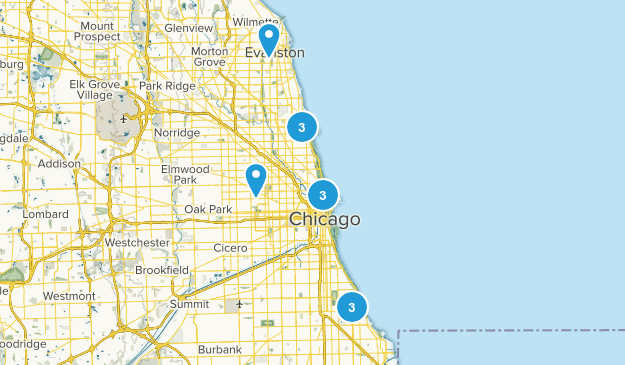 Chicago, Illinois Trail Running Map