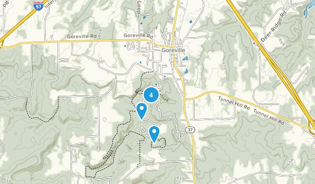Goreville, Illinois Hiking Map