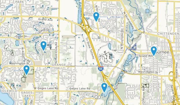 Gurnee, Illinois Dogs On Leash Map