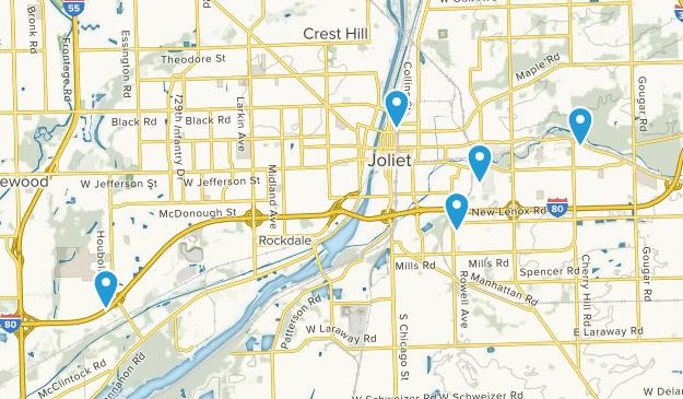 Joliet, Illinois Dogs On Leash Map