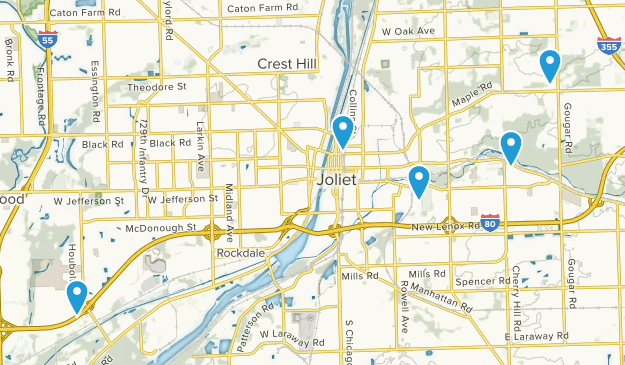 Joliet, Illinois Hiking Map