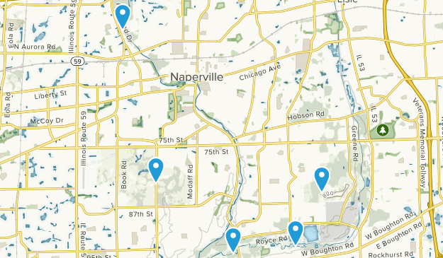 Naperville, Illinois Trail Running Map