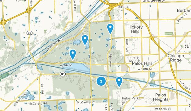 Palos, Illinois Dogs On Leash Map