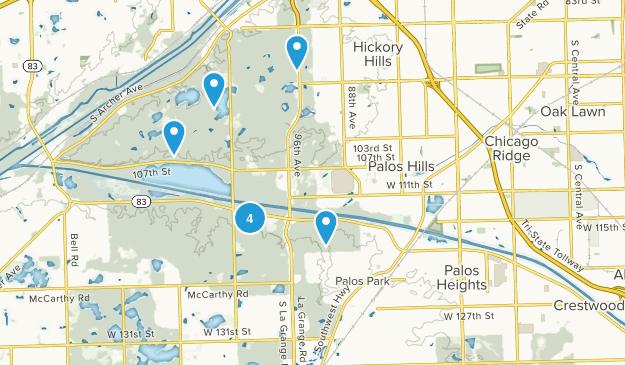 Palos, Illinois Hiking Map