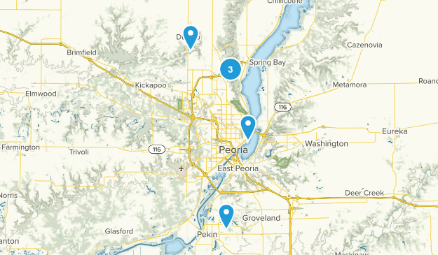 Peoria, Illinois Hiking Map