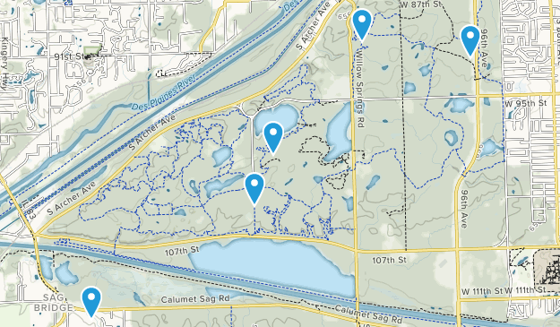 Willow Springs, Illinois Dogs On Leash Map