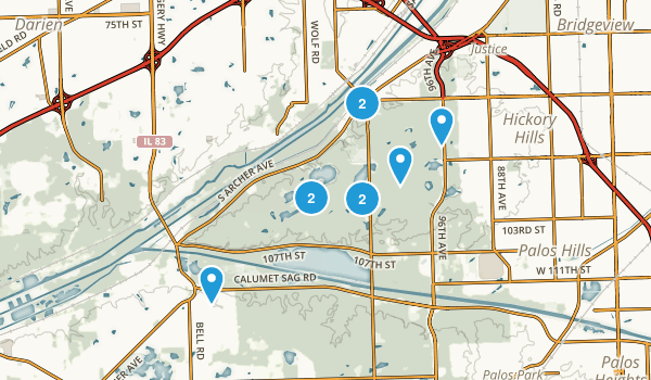 Willow Springs, Illinois Hiking Map