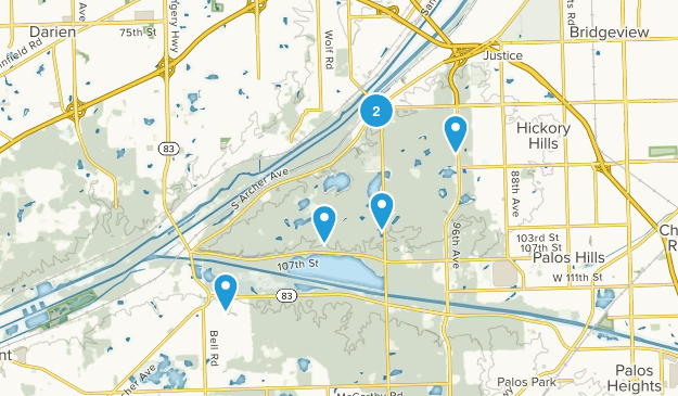 Willow Springs, Illinois Nature Trips Map