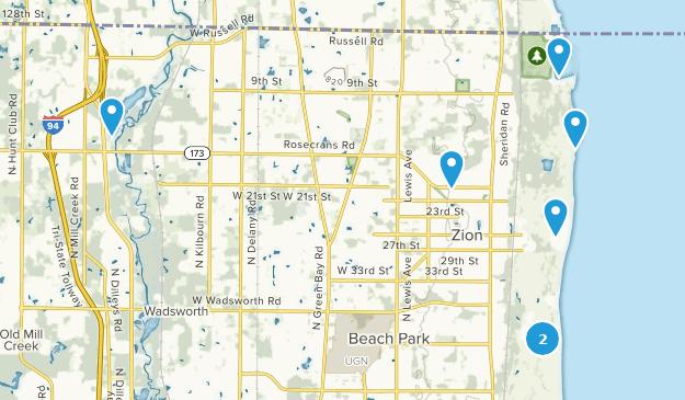 Zion, Illinois Hiking Map