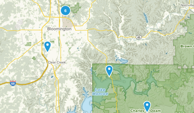 Bloomington, Indiana Hiking Map