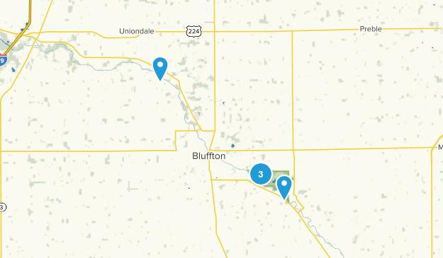 Bluffton, Indiana Hiking Map