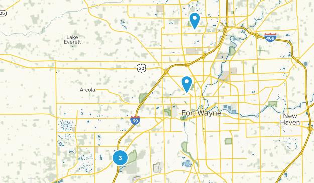Fort Wayne, Indiana Trail Running Map