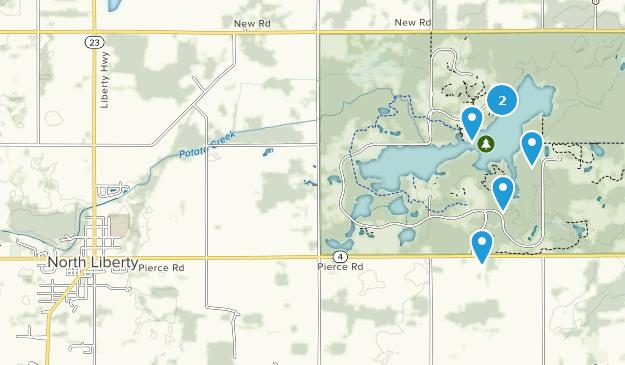 North Liberty, Indiana Hiking Map