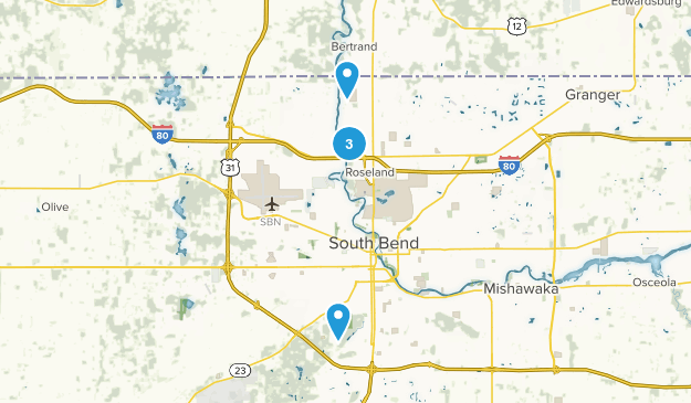 South Bend, Indiana Hiking Map