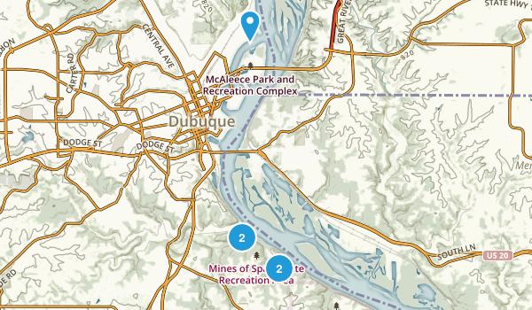 Dubuque, Iowa Hiking Map