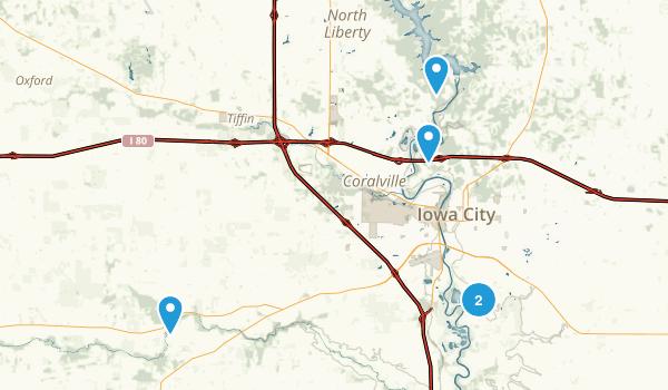 Iowa City, Iowa Lake Map