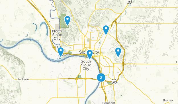 Sioux City, Iowa Hiking Map