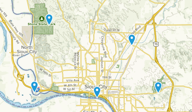 Sioux City, Iowa Nature Trips Map