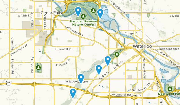 Waterloo, Iowa Hiking Map