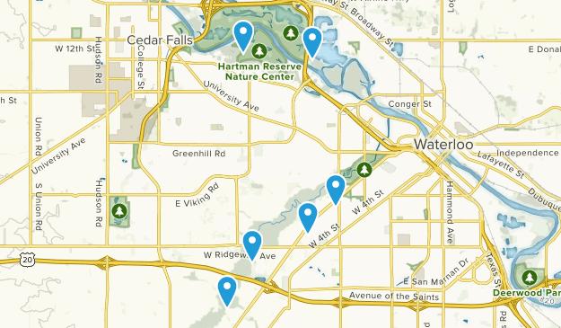 Waterloo, Iowa Nature Trips Map