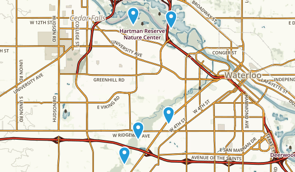 Waterloo, Iowa Walking Map