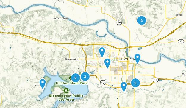 Lawrence, Kansas Hiking Map