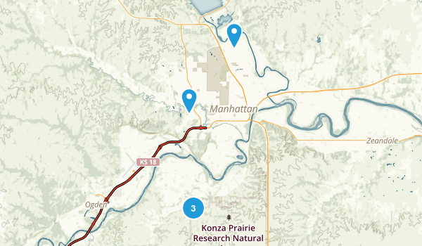 Manhattan, Kansas Trail Running Map