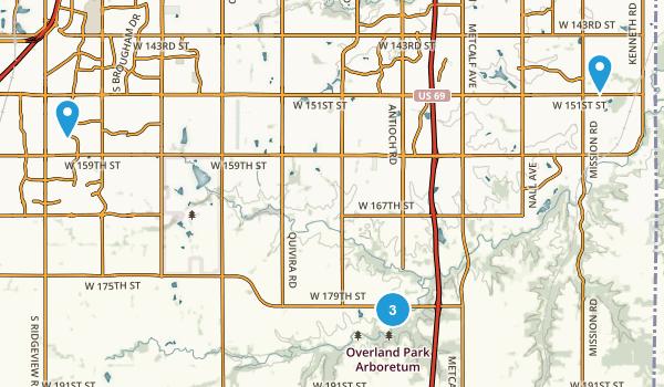 Overland Park, Kansas Trail Running Map