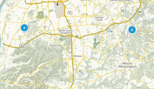 Louisville Metro, Kentucky Mountain Biking Map