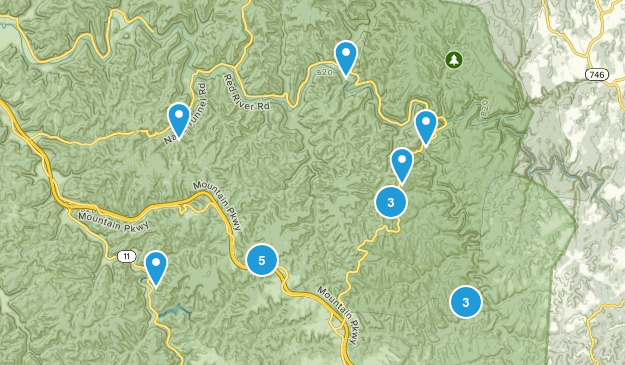 Pine Ridge, Kentucky Hiking Map
